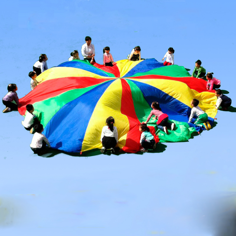 Dia 2/3/4/5/6M Children Games Rainbow Umbrella Educational Outdoor Sports Toys Fun Cloth Parachute Ballute Kindergarten Kids цена