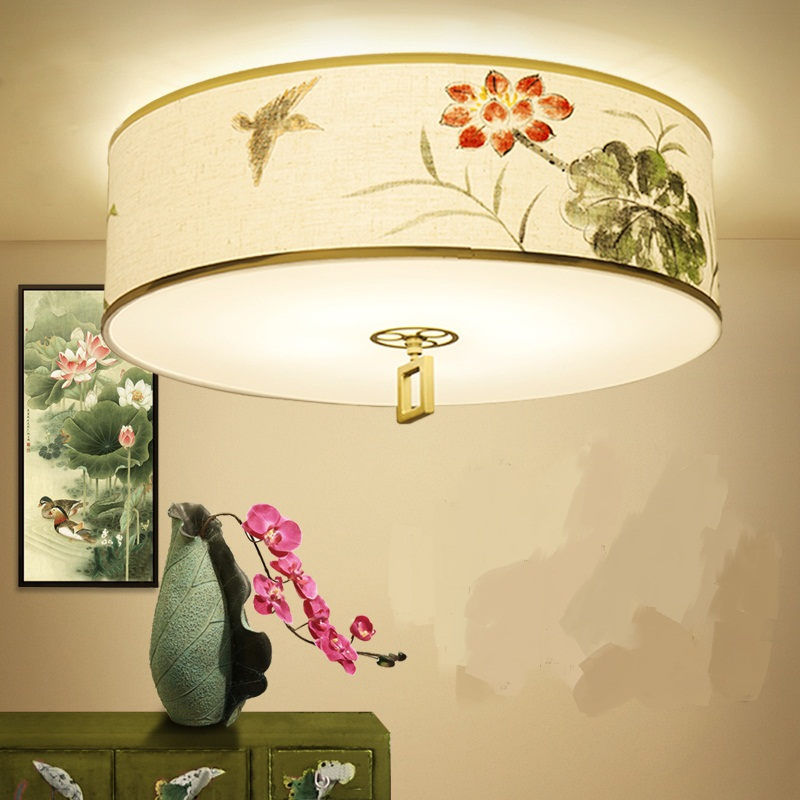 New Chinese LED Ceiling Lights Style Lotus Hand Painted Living Room Dining Bedroom Round Simple Fabric Light
