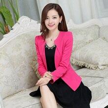 New 2016 Spring Women Blazers fashion casual long sleeved V-Neck Single Button Casual women coats Plus size elegant Women suit