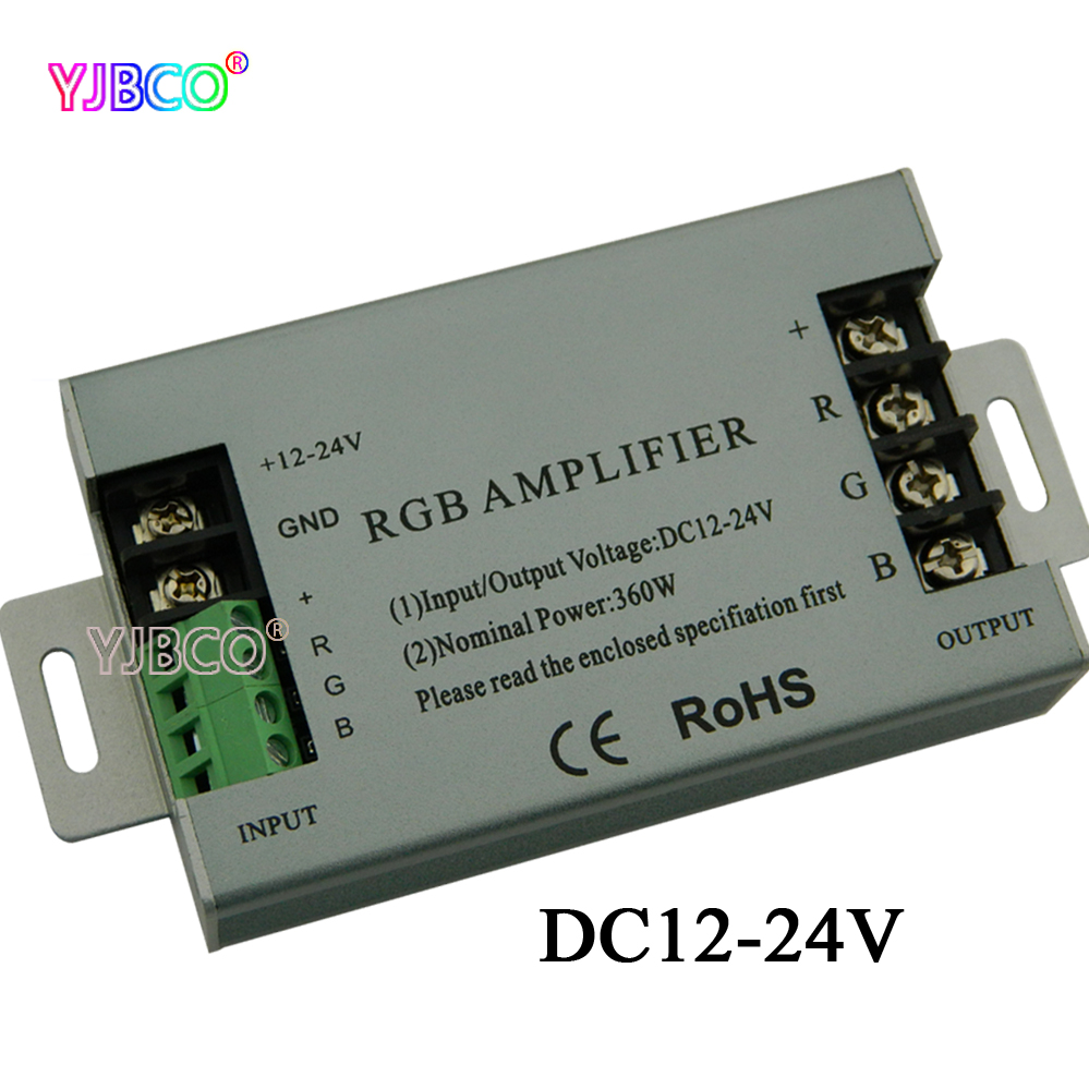 360W RGB led Amplifier controller DC12V 24V 30A Aluminum shell For RGB 5050 3528 SMD LED Strip lamp-in RGB Controlers from Lights & Lighting