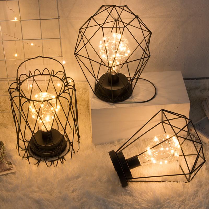 LED Small Night Light Iron Copper Wire edrooom Dormitory Beside Night Lamp Home Decoration Table Luminary Creative Geometric