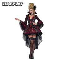 Vampire Queen Witch Fancy Dress Cosplay Costumes Sexy Dresses For Women Female Halloween Carnival Party Gown Performance Uniform