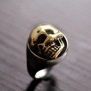 Image 2 - ZABRA 925 Sterling Silver Rose Gold 18mm Skull Ring for Women Mens Personality Biker Vintage Punk Jewelry aneis de prata 925