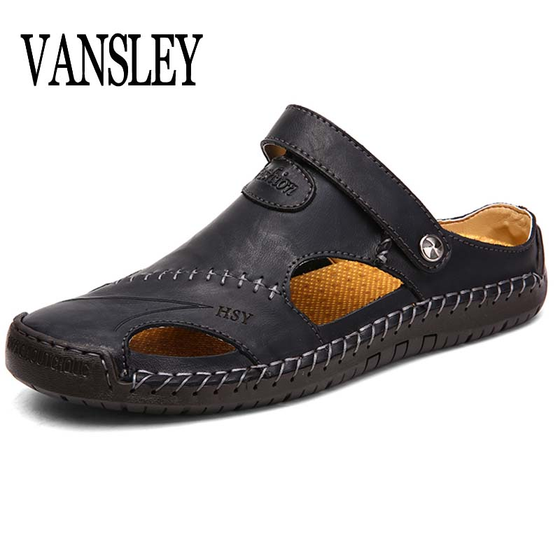 2019 Genuine Leather Men Sandals Shoes Summer Leisure Beach Men's Sandals High Quality Sandals Slippers Bohemia Big Size 38-48(China)