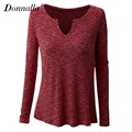 Donnalla Women T-Shirt Spring Tee Shirts V-Neck Long Sleeve T-shirts for Women Sexy Casual Femme Tops Blusas Plus Size Tee Shirt