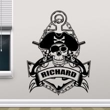 Custom Name Wall Decal Sea Style Mural Personalized Sticker Anchor Pirate Design Vinyl AY0238