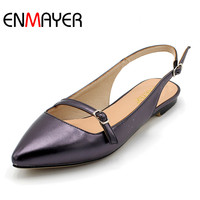 ENMAYER Flats Shoes Big Sizes 33 43 Spring Summer Shoes Sexy Woman Shoes Pointed Toe Flats