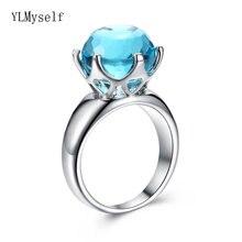 Красивые большие кольца с синим камнем модные украшения из латуни