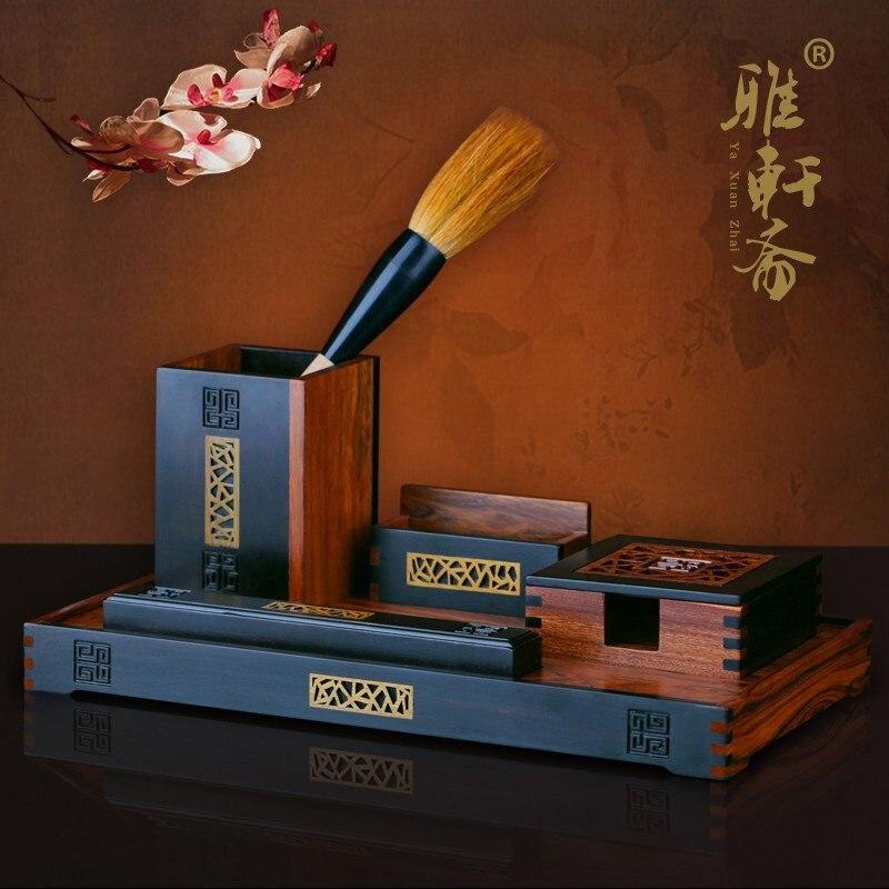 Zhai TZ penna del regalo set di Legno di Ebano palissandro artigianato in legno di business office ornamenti creativi
