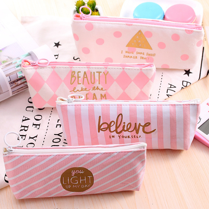 Kawaii Pencil Case Canvas Pen Box for school Pink Pen bag Cute Dot Stripe Pencil Case Korean Stationery School Supplies