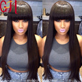 150% Density Remy Front Lace Wigs/Glueless Full Lace Wig With Bangs Black Brazilian Straight Human Hair Wigs Bleached Knots 7A