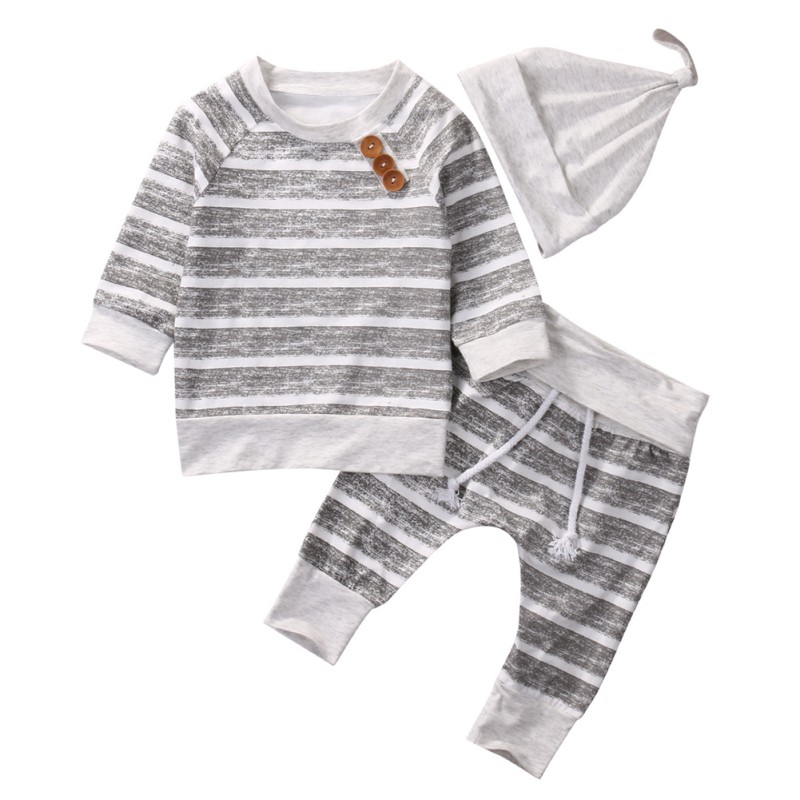 3Pcs Newborn Baby Boys Long Sleeve Outfits Sets Leisure Cotton Striped Tos+Pant+Cap For 0-18M