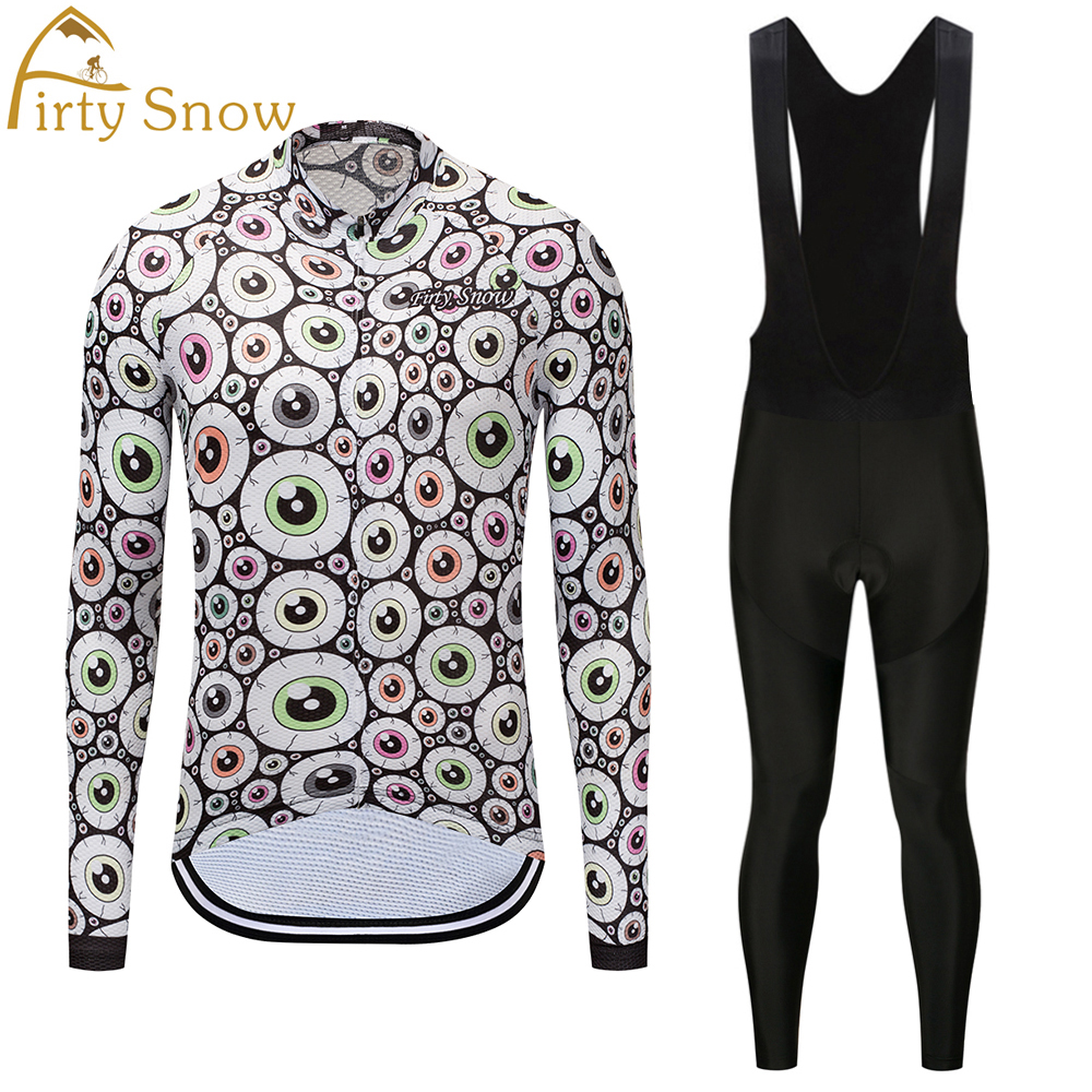 Firty sonw2018 long sleeve cycling wear clothes bicycle cycling jersey bib pants set ropa maillot ciclismo clothing