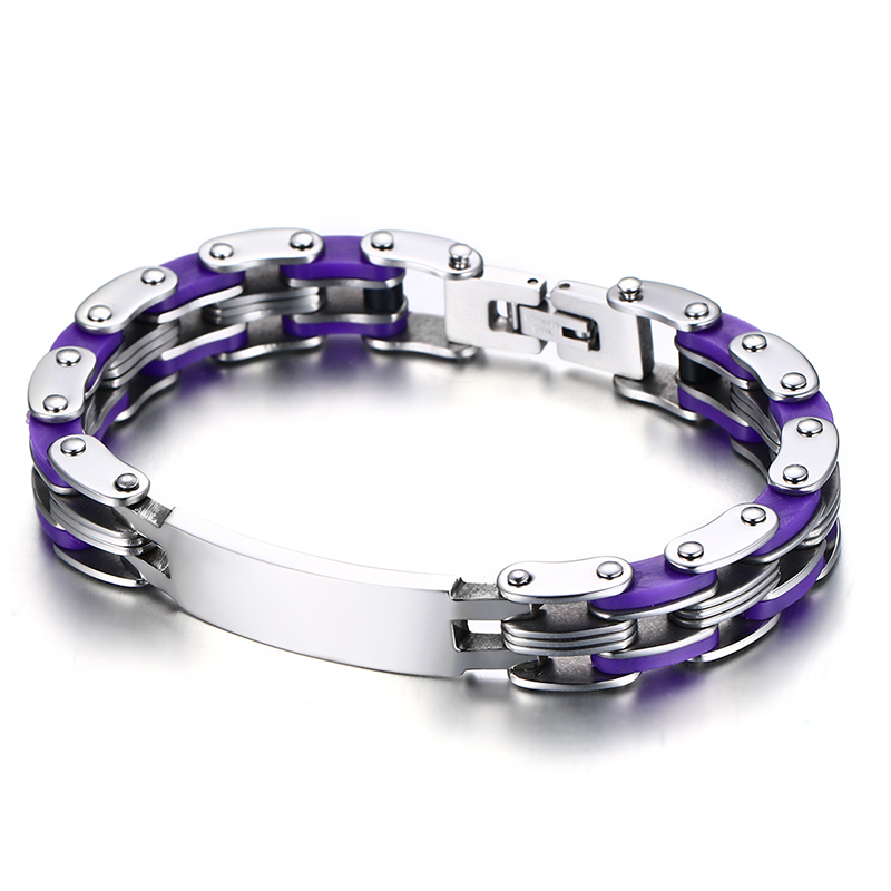 Purple Bike Chain Bracelet Men Jewelry Silicone & Stainless Steel ID Tag Engraving Male Braslet Wristband Jewellery Pulseira