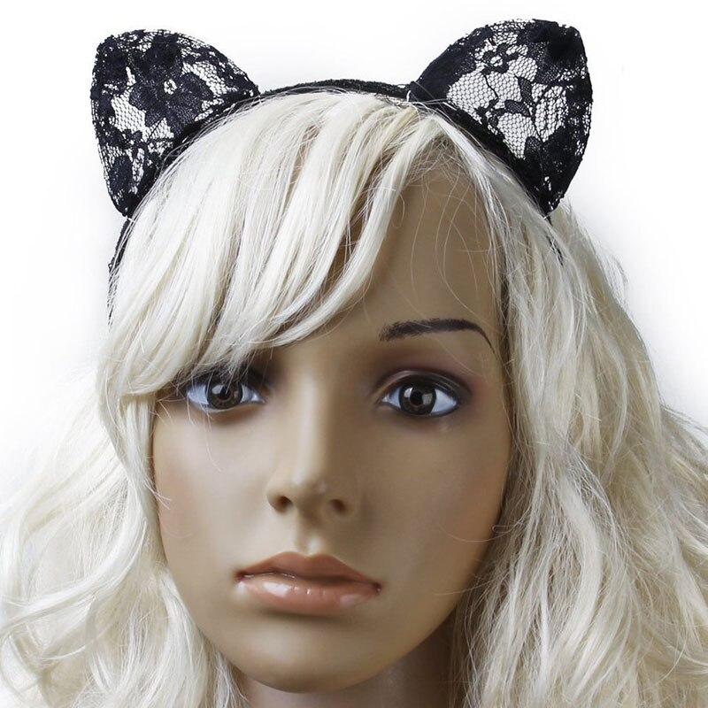 fashion women girl hair bands lace cat ears veil black eye mask halloween party headwear hair - Black Eye Mask Halloween