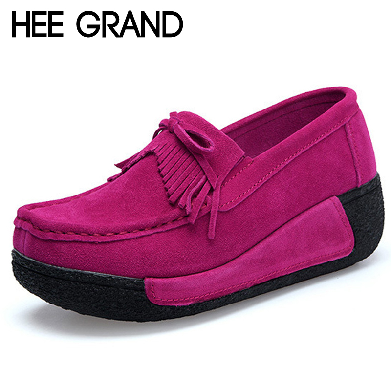 HEE GRAND 2018 Faux Suede Creepers Bowtie Shoes Woman Slip On Platform Loafers Flats Casual Women Shoes Size 35-41 XWC1399 2017 spring women flats pu leather shoes woman pointed toe slip on platform loafers woman creepers casual shoes size 35 40