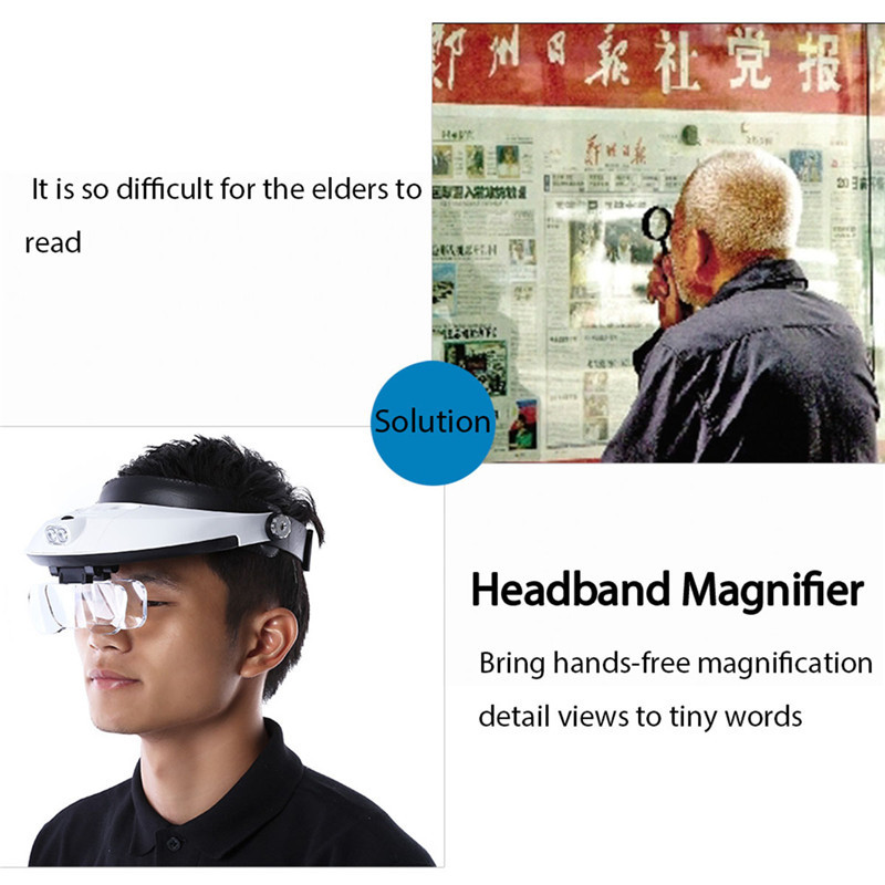 Headband 5Lens Binoculars Third Hand Magnifier Light Jewelry Repair Reading Magnifying Glass dental loupes 2.5x 1.0x 1.5x 2.0x new portable 45x magnifier magnifying glass with light detachable reading engraving jewelry glasses loupes