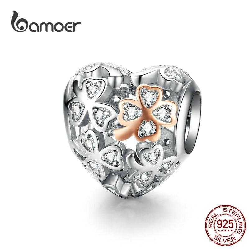Bamoer trevo sorte coração forma charme para mulheres marca de luxo pulseira 3mm rosa cor ouro 925 prata esterlina jóias scc1248