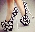 2015 zapatos de tacón alto tacones delgados blanco y negro sexy tiangao 15 cm de plataforma zapatos de un solo