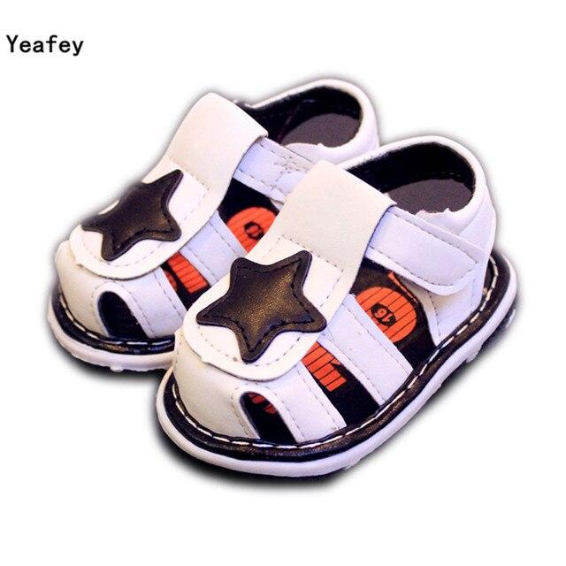 19d8f22bc706a Yeafey Bébé bébé Garçon Sandales Blanc Étoiles Taille 15-19 D été Sandale  Chaussures