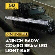 """ForOsram 5D 560 W 42 """"Combo LED Work Light Bar Dritto Esterno Luci Auto Rimorchio del Camion SUV ATV UTE Boat Off-road Driving Lampada"""