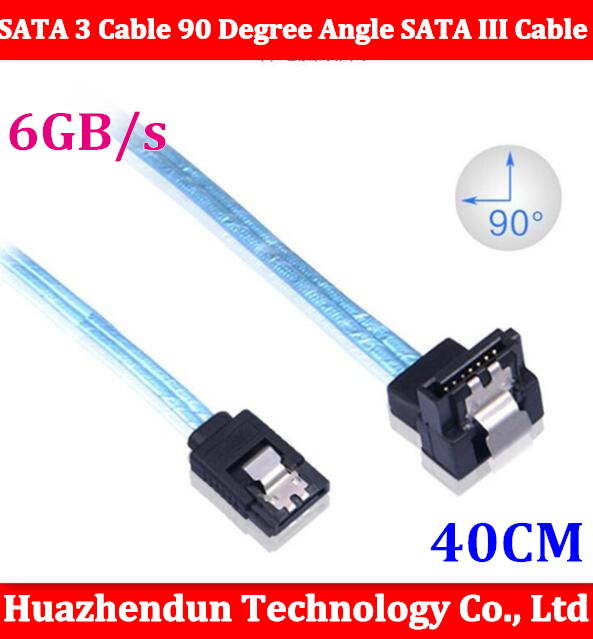 100PCS SATA 3 Cable 90 Degree Angle SATA III Cable 6GB/s Data SATA 3.0 Cable Cord for SDD HDD Blue 40CM cp11 sata cable lateral 90 degree angled sata connector 6gb s 30cm blue