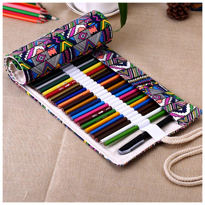 Canvas Wrap Roll Up Pencil Bag Pen Case Holder Storage Pouch 48 Holes striped wrap pencil bag