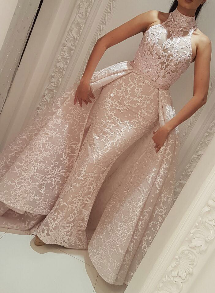 Muslim Evening Dresses 2020 Mermaid High Neck Detachable Skirt Lace Islamic Dubai Kaftan Saudi Arabic Long Evening Gown Prom