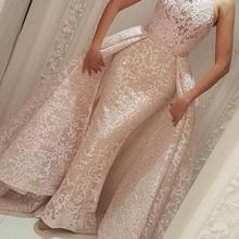 Evening-Dresses Detachable Skirt Dubai Saudi Arabic Mermaid Kaftan Lace Muslim Long High