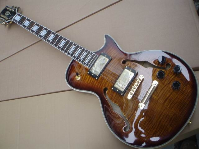 Wholesale New G Les Custom Small Jazz Electric Guitar Semi Hollow Body With F Hole  In Best Brown Burst 100522