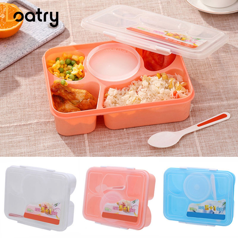 Doatry 1170ML Microwave Bento Lunch Box With Spoon Large Capacity Bento Food Container Storage Lunch Dinnerware Set