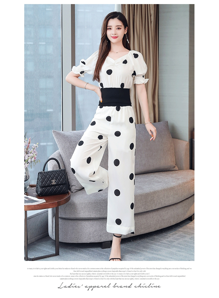 Summer Dot Print Two Piece Sets Outfits Women Plus V-neck Short Tunics Tops And Wide Leg Pants Suits Elegant Ladies 2 Piece Sets 40