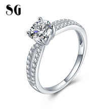 SG 100% 925 Sterling Silver luxury Double Zircon Stone Finger Ring for Women 2019 Wedding Party Gifts Jewelry free shipping