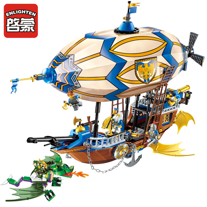Enlighten 669pcs Building Blocks War of Glory Castle Knights Sliver Hawk Balloon Ship Bricks Star Wars Boat Toys for Children enlighten new 2315 656pcs war of glory castle knights the sliver hawk castle 6 figures building block brick toys for children