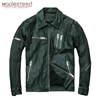 MAPLESTEED Mens Giacca di Pelle di Cera Olio Pelle di Vitello In Pelle Verde Giubbotti Nero di pelle di Pecora Moto Biker Cappotto Cappotto di Pelle Autunno M005