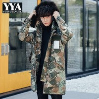 High Quality Luxury Mens Overcoats Streetwear Slim Fit Hooded Outwear Long Jacket Casual Harajuku Printed Male Camo Parkas M 3XL