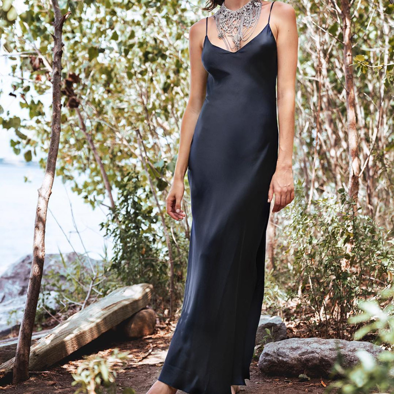 InstaHot Sexy Satin V Neck Maxi Dress Women Spaghetti Strap Sleeveless Backless Side Split Long Dresses