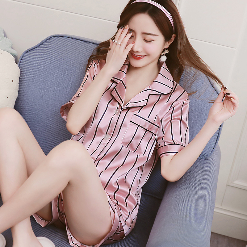 Stripe Floral Print Short Sleeve Top And Shorts Pyjamas Women Satin Silk Pajama Sets Cute Cartoon Sleepwear Womens Homewear