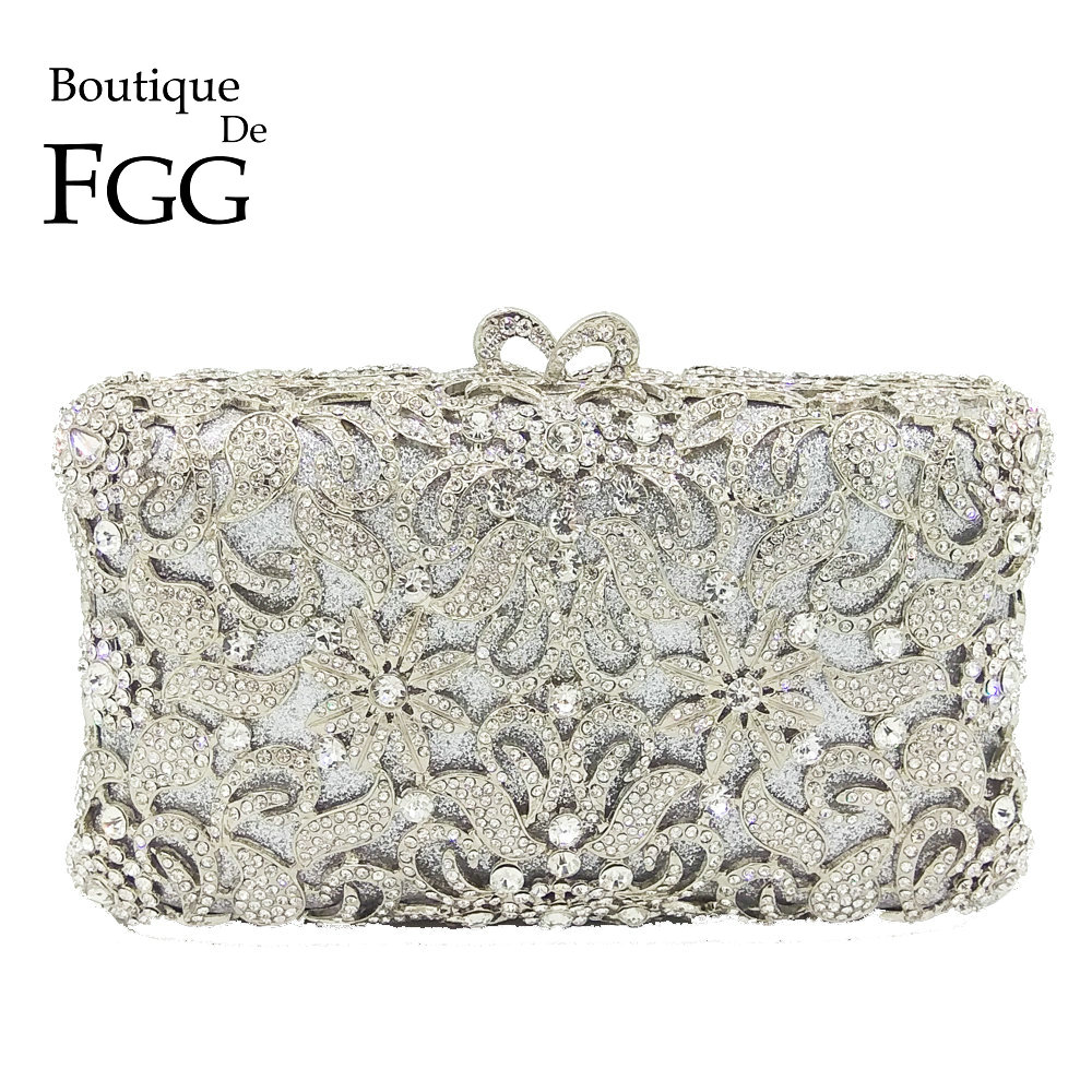 Boutique De FGG Hollow Out Dazzling Silver Crystal Women Evening Minaudiere Bag Wedding Bridal Flower Metal