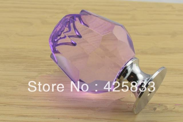 Free Shipping 10pcs Purple K9 Crystal Rose Pulls Cabinet Handle Drawer Pulls Wardrobe Dresser Knobs Closet Hardware Door Pull
