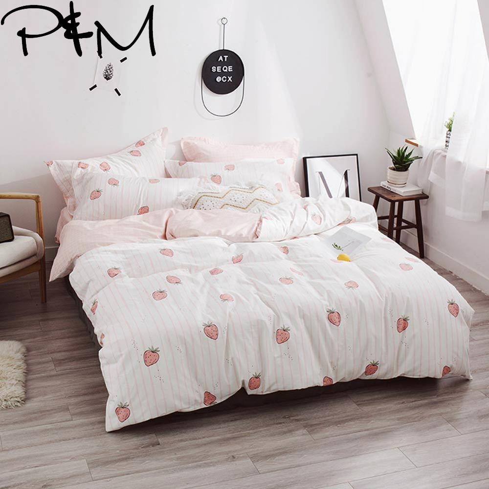 Papa&Mima Pink strawberry print fashion style bedding sets Cotton bedlinens Twin Queen King size pillowcases duvet cover sets