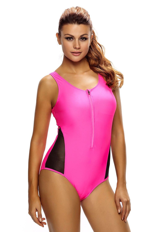 Sexy Women Mesh Zipped Splicing Tank Bikini Swimsuit with Lace up Back One Piece Swimwear Monokini Beachwear Bathingsuit Summer