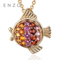 ENZO 12 Zodiac Necklace Pendant Natural Colourful Crystal With 9K Gold Constellation Gemstones Pisces Charms