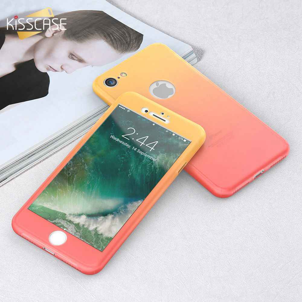 KISSCASE 360 Full Protection Phone Case For iPhone 6 6s 7 8 Plus Tempered Glass Cover For iPhone XS Max X XR Shockproof Shells
