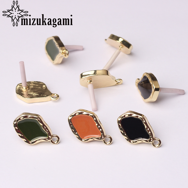 Zinc Alloy Golden Water Drop Enamel Earrings Base Earrings Connector 22*13mm 6pcs/lot For DIY Earrings Making Accessories