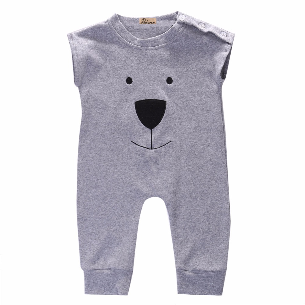 New Baby Girl Boy Bear Cotton Jumpers Rompers Playsuit Sleepsuit Outfits 0-24M