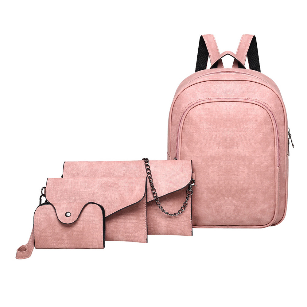 4Pcs Women Pure Color Leather Backpack+Crossbody Bag+Messenger Bag+Card Package JUNE6