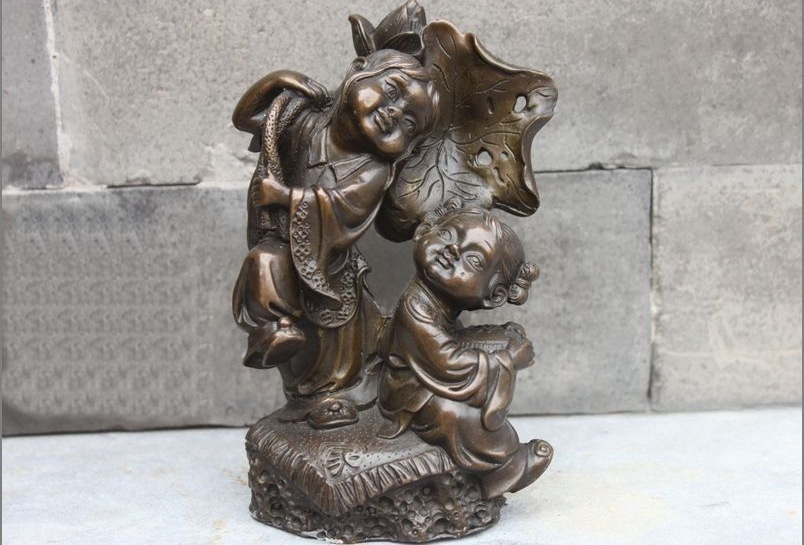 Chinese Bronze Lotus leaf Two Boys Children Symbol of family harmony statue a 0518