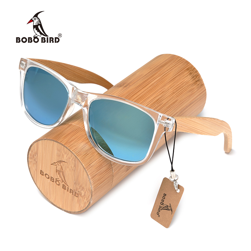BOBO BIRD Handmade Polarized Sunglasses Women Men With Colorful Lens Transparent Plastic Frame Bamboo Legs Fashion Gifts CG008