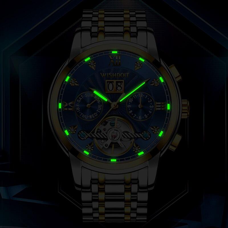WISHDOIT New Men Watch Mechanical Tourbillon Luxury Fashion Stainless Steel Sport Watches Mens Automatic Watch Relogio Masculino 4
